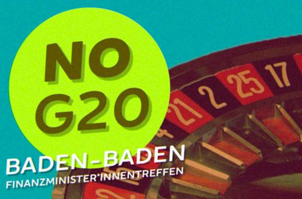 Demonstration gegen das G20-Finanzministertreffen in Baden-Baden